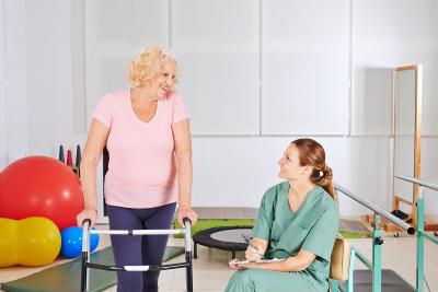 caregiver evaluating seniors performance